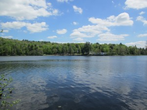 View of Camp Lenox from the the boat ramp on the Otis side of Shaw Pond.