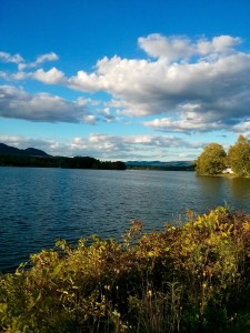 View of Cheshire Lake from the Ashuwillticook Rail Trail in Cheshire, MA.